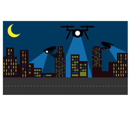 Surveillance operations in an urban area, vector illustration.