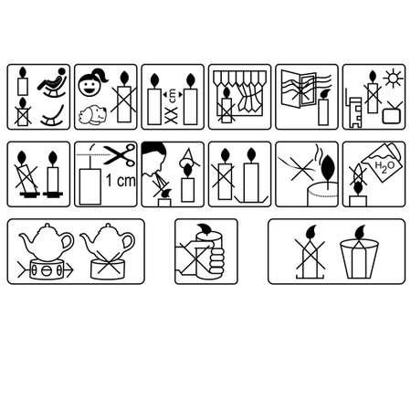 Tiquetage avec instructions d'utilisation pour bougies en cire Banque d'images - 97352011