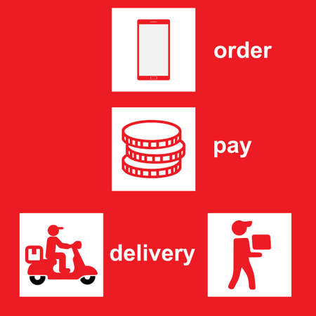 Icons that show the steps for home delivery Illusztráció