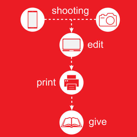 Shooting , edit, print and give icons on red background Illustration