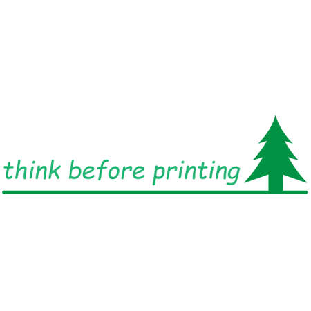 Fir tree with the message think before printing Vectores