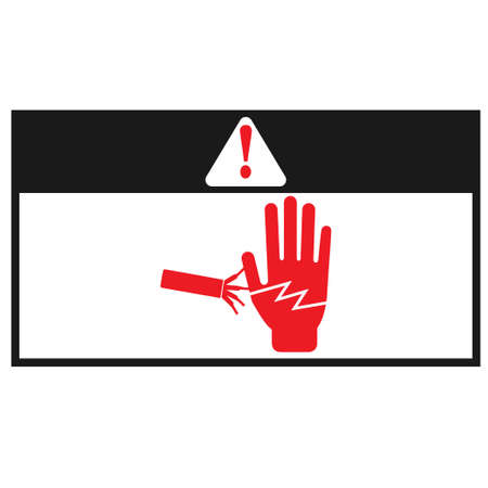 Electrical hazard warning sign and exclamation mark sign. Illustration