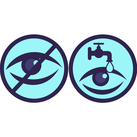 Stop watching sign and icon with eye and water drop