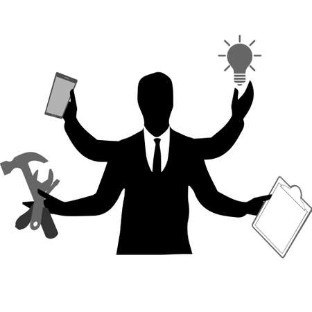 Man's silhouette with many hands holding different objects, multitasking and productivity concept