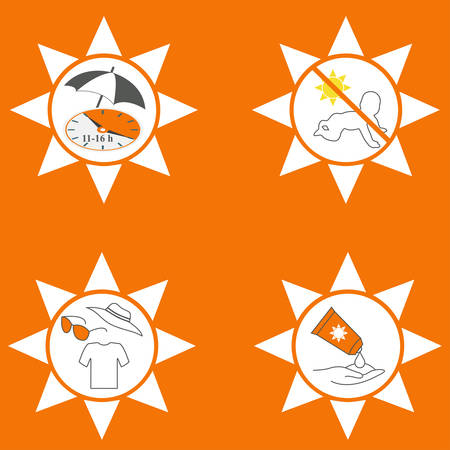 Four UV protection instruction icons, conceptual vector Çizim
