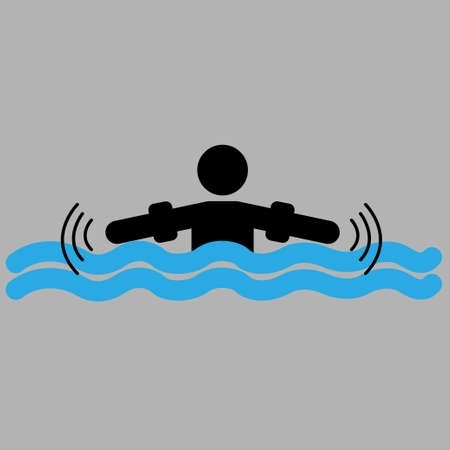 Person's silhouette with water wings on waves