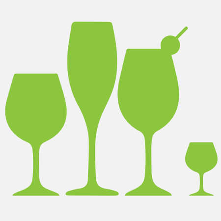 Different shapes and sizes of glasses for various drinks