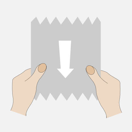 Hands pulling a paper towel with arrow Illustration