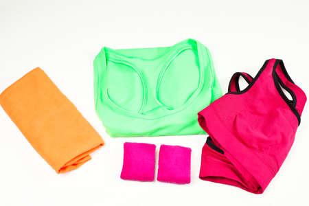 Isolated sportswear like bra, top, wristband, towel Stock Photo
