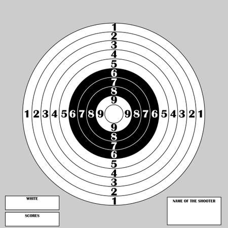 Clean target for shooting competition with numbers and text