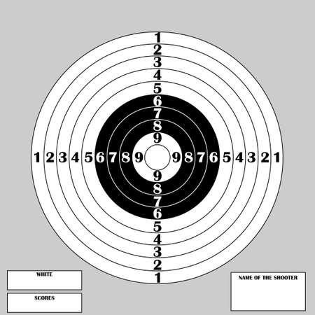 Sauberes Ziel für Schießwettbewerb mit Zahlen und Text