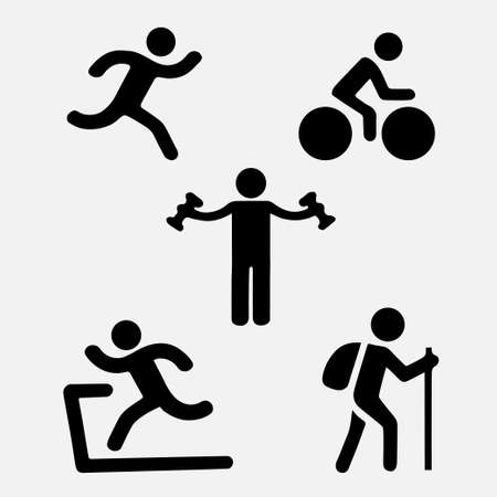 Black silhouettes of people doing  different sports activites