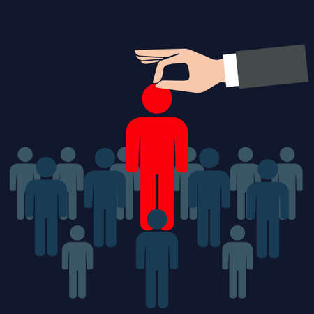 Choosing one person from the crowd, conceptual vector