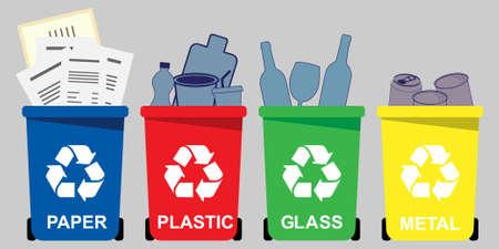 Vier selektive Abfallbehälter für Papier, Kunststoff, Glas, Metall