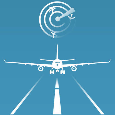 Plane landing and radar, aviation conceptual vector