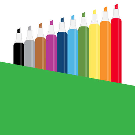Collection of markers of different colors, conceptual vector