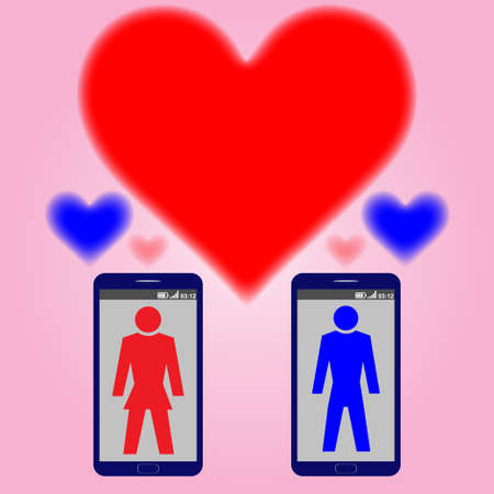 Two mobile phones with silhouettes of a man and a woman and hearts