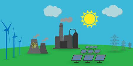 Différentes sources d'énergie : éolienne, solaire, énergie atomique, énergie électrique, centrale à combustible fossile