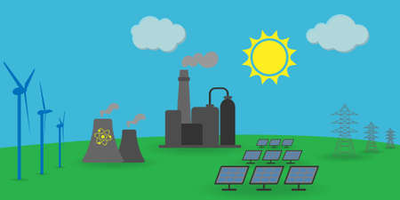 Different energy sources: wind, solar, atomic energy, electrical energy, fossil fuel power station Illustration