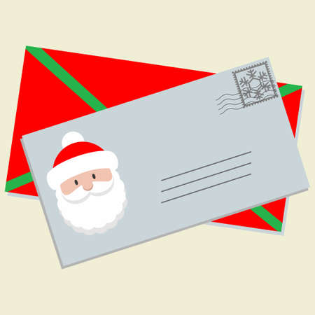 Letter with Santa Claus head on it and envelope
