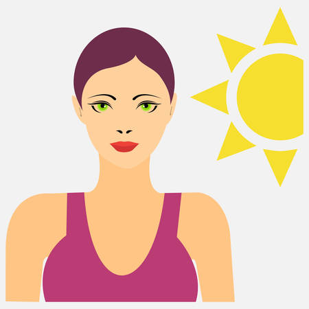 Portrait of a woman in swimming suit with the sun behind