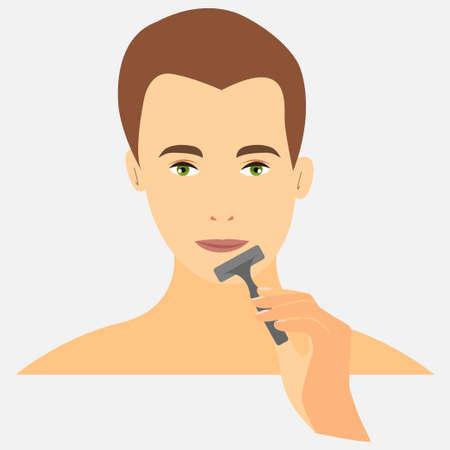 Portrait of a caucasian man holding a razor