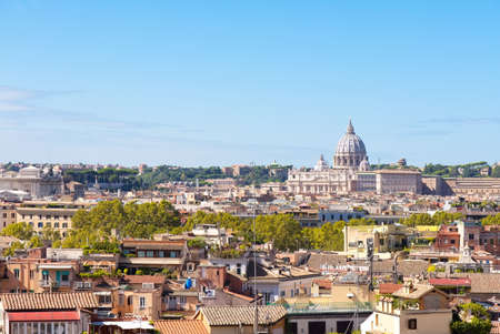 Aerial view of Rome with Saint Peter Basilica