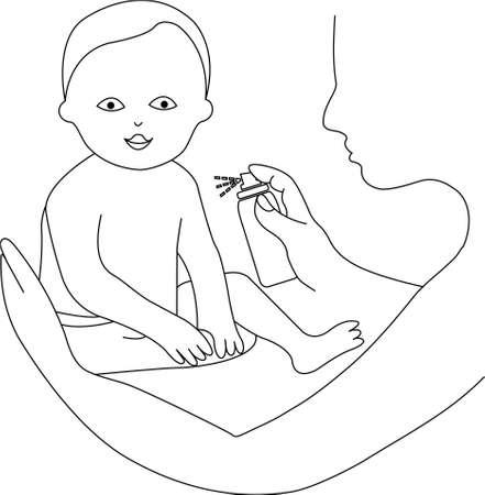 Mère utilisant un spray sur la peau du bébé Vecteurs