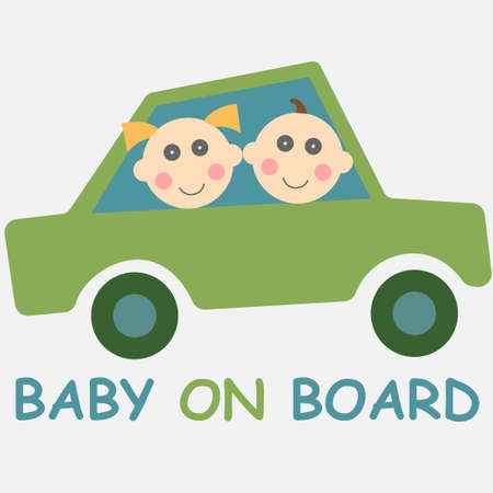 Baby on board sign with two children girl and boy in a car
