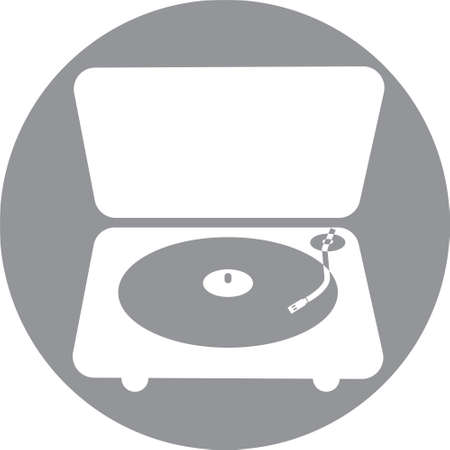 Audio vinyl turntable player in a grey circle