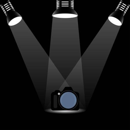 Photo camera illuminated by three searchlights, conceptual vector Иллюстрация