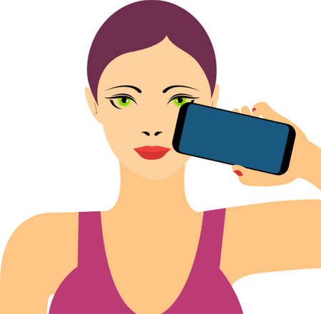 Young woman holding a mobile phone, conceptual vector Иллюстрация