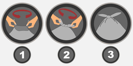 Icons showing the steps you need to tie a bag