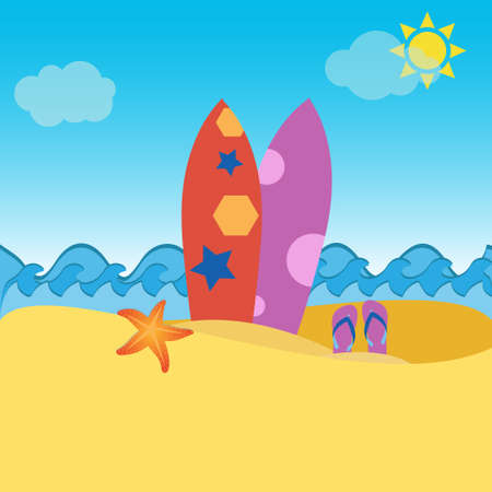 Surfboards in the sand, flip flops and starfish, vacation concept