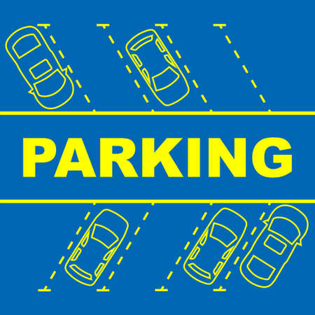 Parking area with places and parked cars and with text