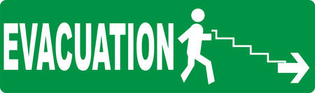 Evacuation sign on green background with with silhouette of a person, stairs and arrow symbol
