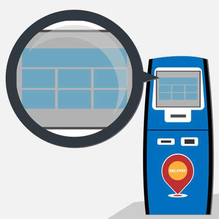 Self service of payment machine, conceptual vector Çizim