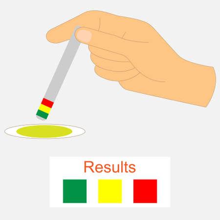 Hand holding a urine ph test strip