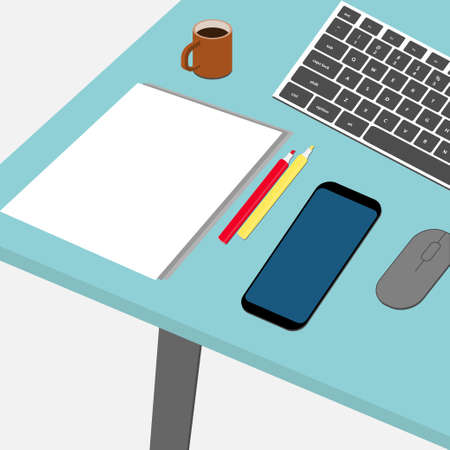 Top view of a desk with coffee cup, pencils, mobile phone, mouse, keyboard and paper