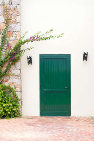 Vintage green door on white wall with electric lamps and plants Stock fotó