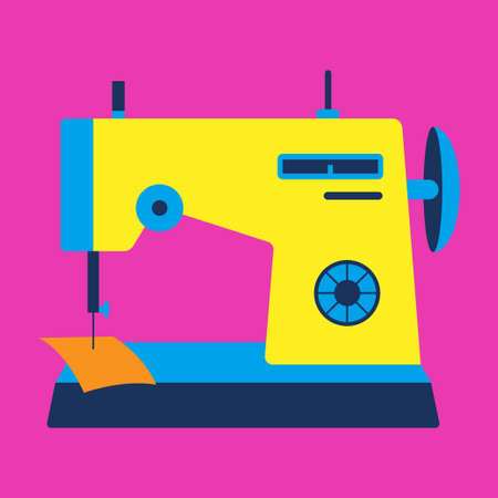 Colorful sewing machine on pink background, conceptual vector