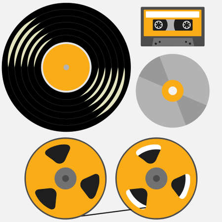 Different music records: vinyl, cassette, compact disk, reel to reel tape