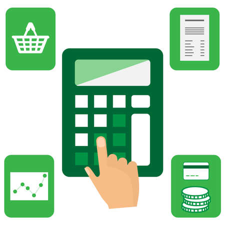 Calculator with money, card, basket, graphic and bill icons