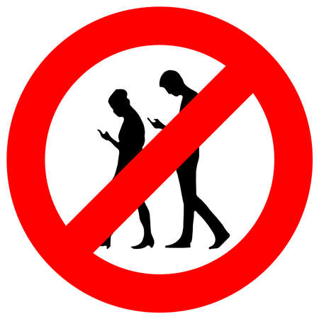 People with mobile phone are not allowed sign