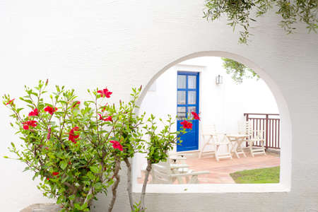 Red hibiscus and traditional greek house with blue door Stock fotó