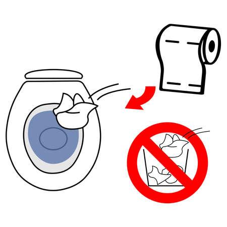 Gooi gebruikt toiletpapier in de toiletpot gooi het niet in de afvalbak