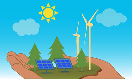 Hand holding a piece of land with windmills and solar panels,  green energy concept