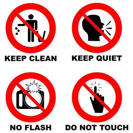 Different prohibition signs in red circle: no flash, do not touch, keep clean, keep quiet Illusztráció