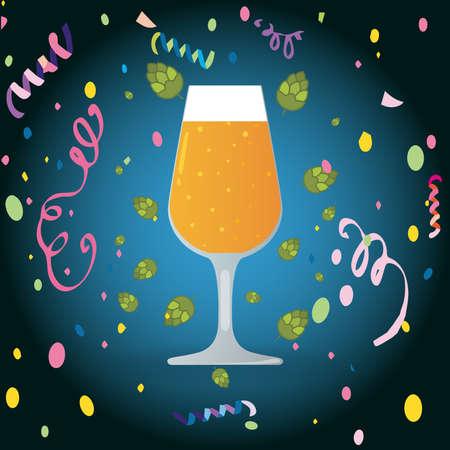 Beer glass with confetti, Oktoberfest celebration concept Иллюстрация
