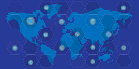 World map with networking and technology symbols on blue background